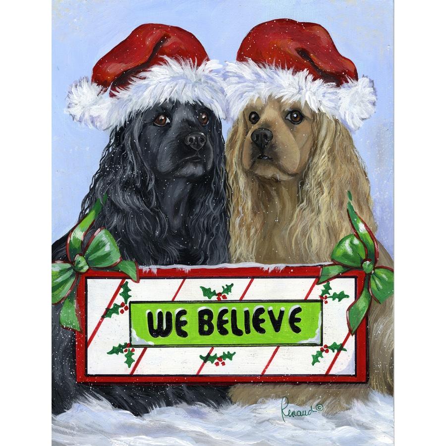 Precious Pet Paintings 1.5-ft x 1.04-ft Cocker Spaniel Christmas Flag