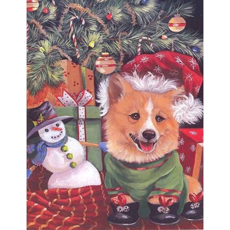 Precious Pet Paintings 1.5-ft x 1.04-ft Corgi Christmas Flag