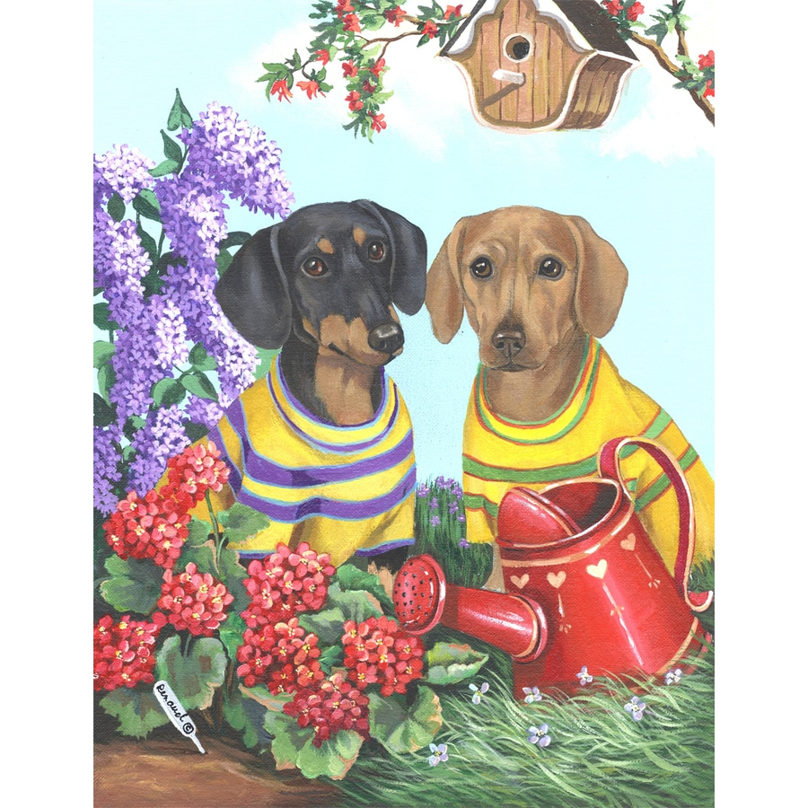 Precious Pet Paintings 1.5-ft x 1.04-ft Dachshund Spring Flag