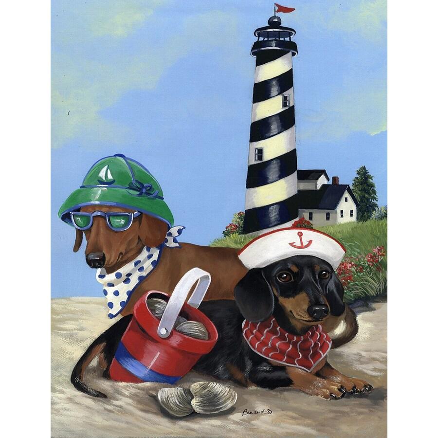 Precious Pet Paintings 1.5-ft x 1.04-ft Dachshund Beach Flag