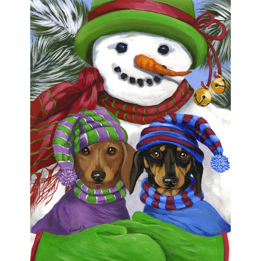 Precious Pet Paintings 1.5-ft x 1.04-ft Dachshund Winter Flag