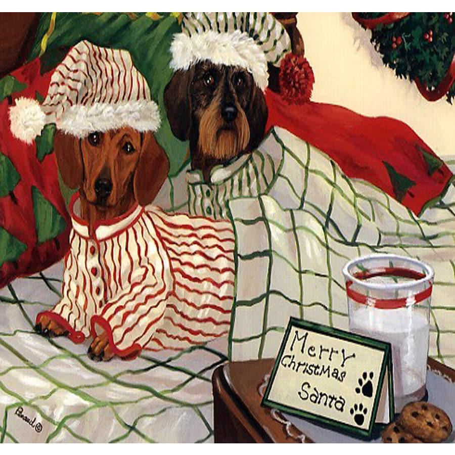 Precious Pet Paintings 1.5-ft x 1.04-ft Dachshund Christmas Flag
