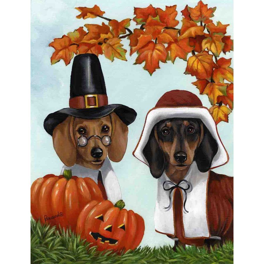 Precious Pet Paintings 1.5-ft x 1.04-ft Dachshund Thanksgiving Flag