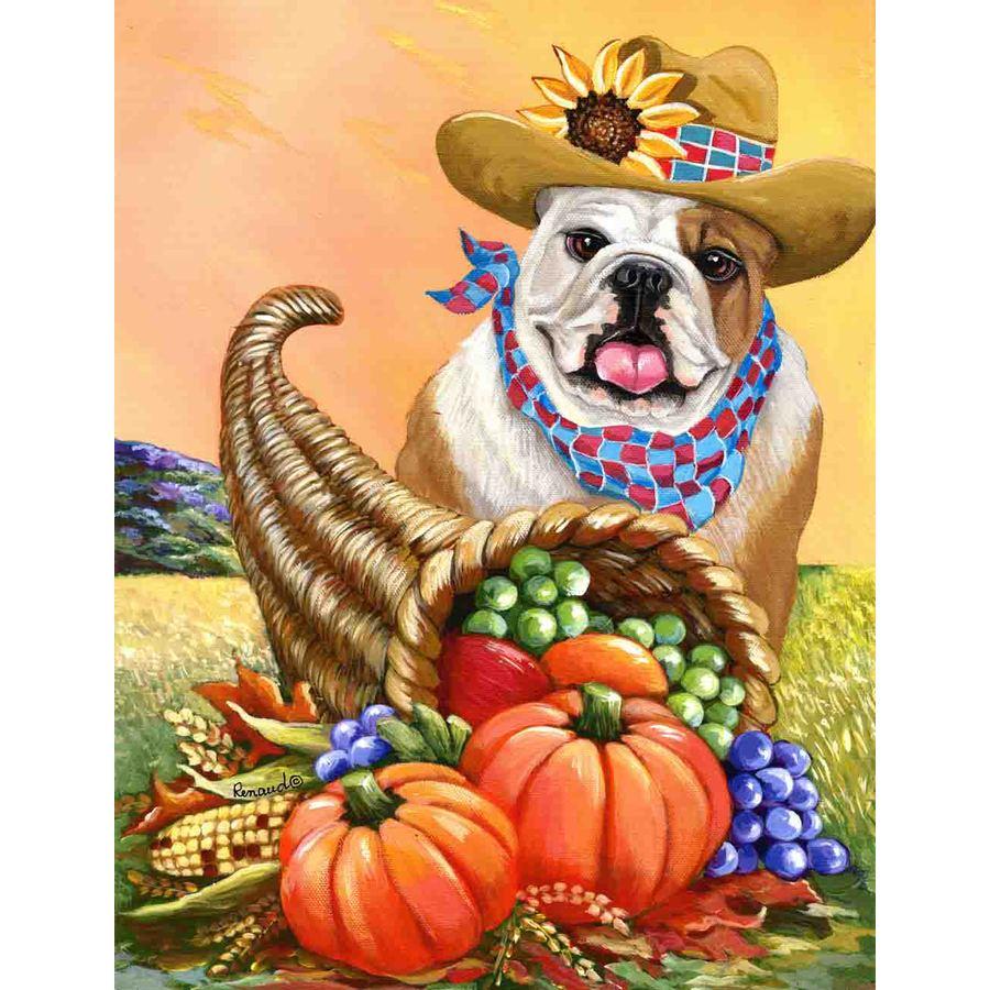 Precious Pet Paintings 1.5-ft x 1.04-ft English Bulldog Fall Flag