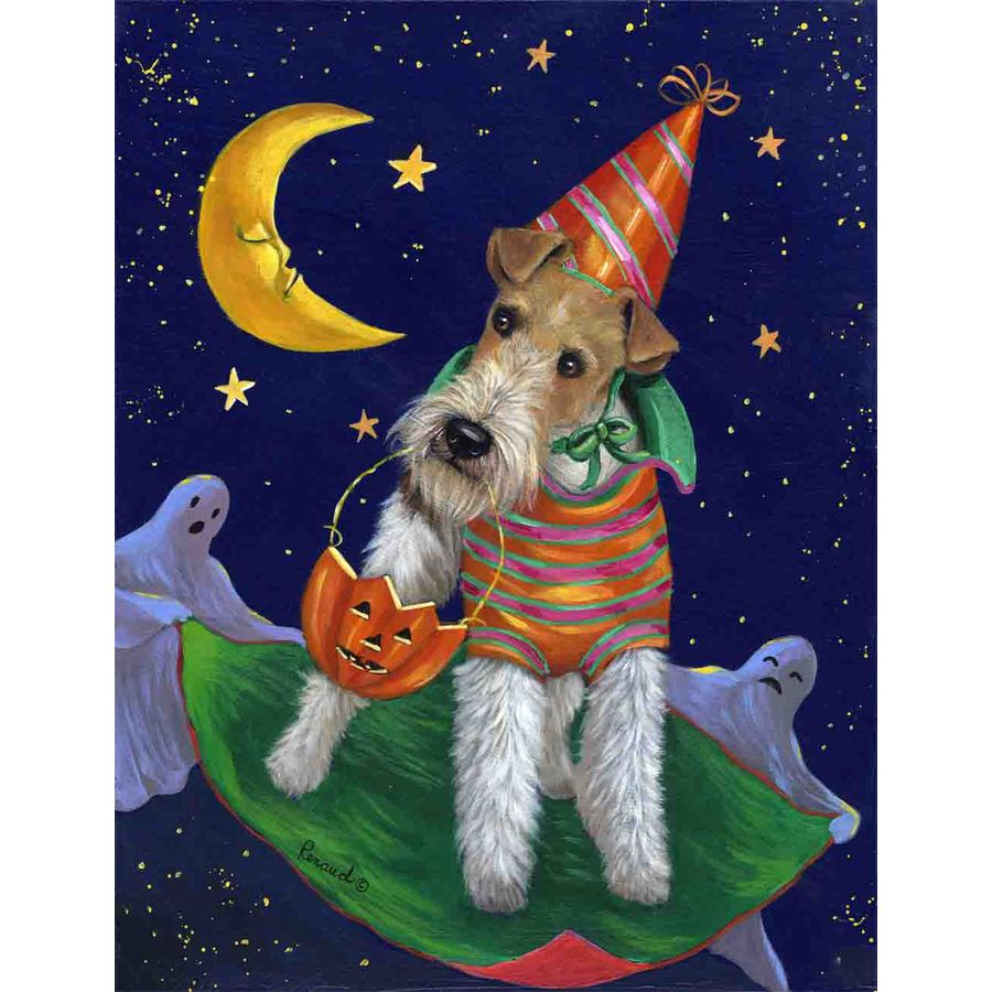Precious Pet Paintings 1.5-ft x 1.04-ft Fox Terrier Halloween Flag