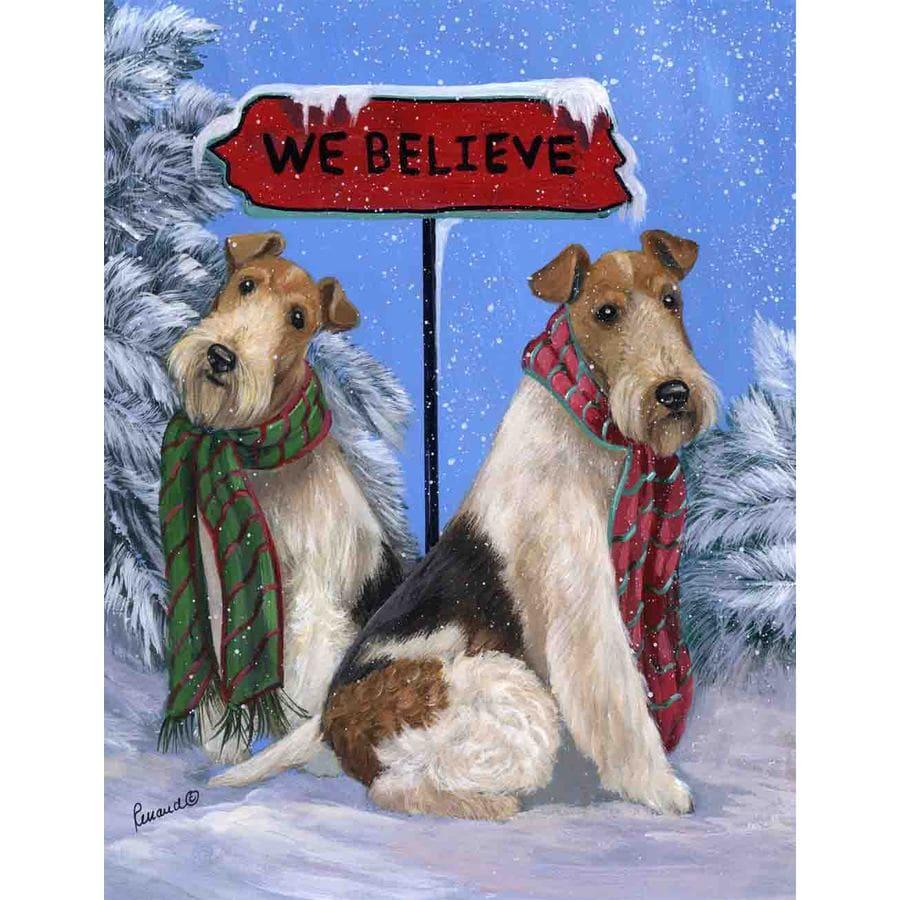 Precious Pet Paintings 1.5-ft x 1.04-ft Fox Terrier Christmas Flag