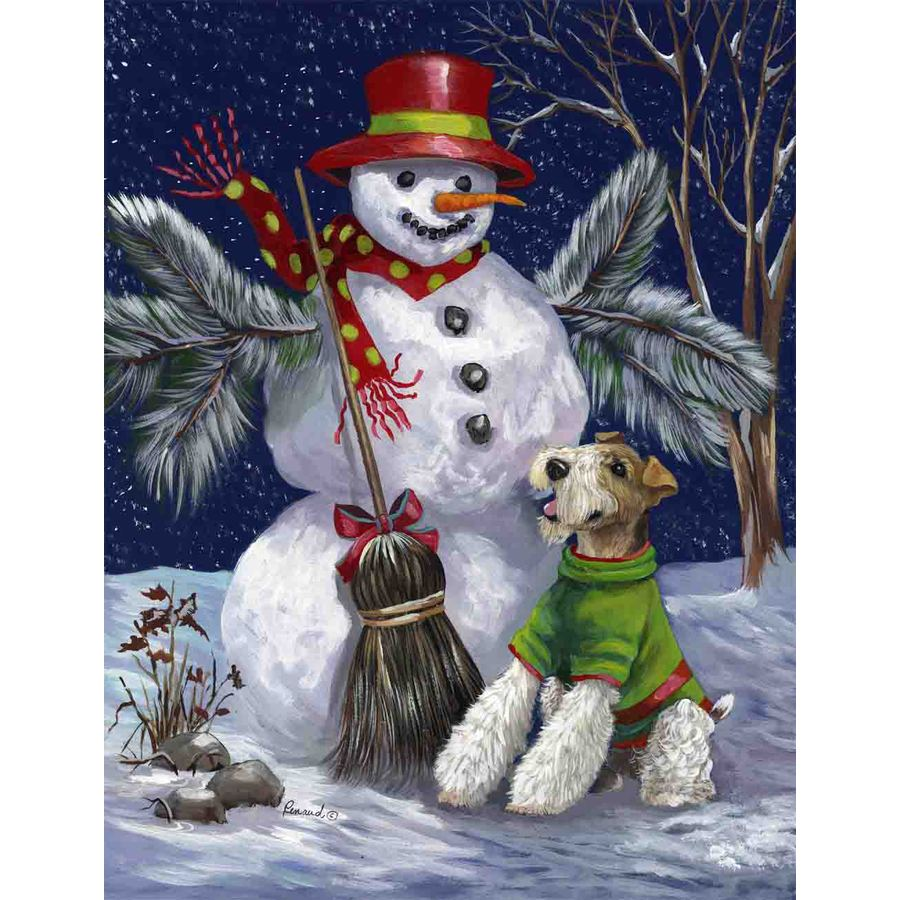 Precious Pet Paintings 1.5-ft x 1.04-ft Fox Terrier Winter Flag