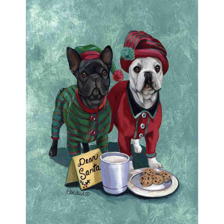 Precious Pet Paintings 1.5-ft x 1.04-ft French Bulldog Christmas Flag