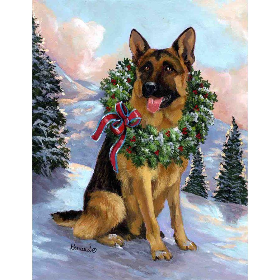 Precious Pet Paintings 1.5-ft x 1.04-ft German Shepherd Christmas Flag