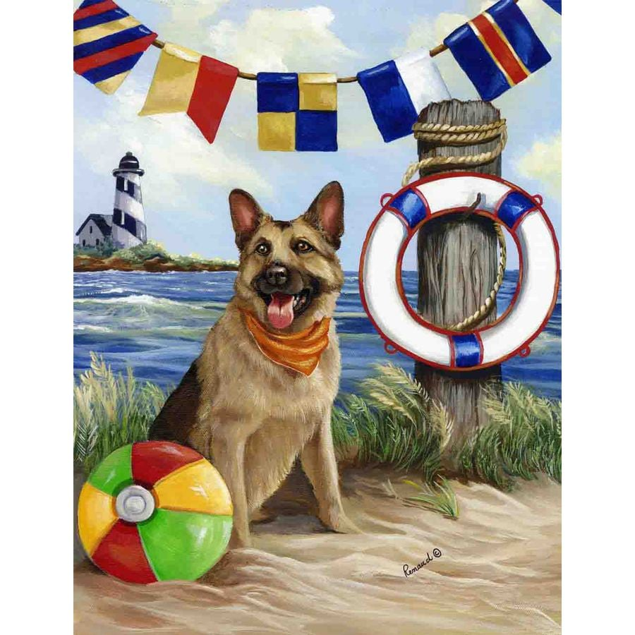 Precious Pet Paintings 1.5-ft x 1.04-ft German Shepherd Beach Flag