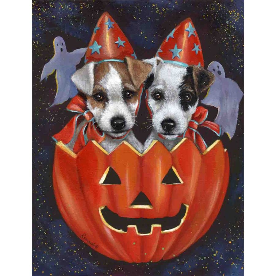 Precious Pet Paintings 1.5-ft x 1.04-ft Jack Russell Halloween Flag