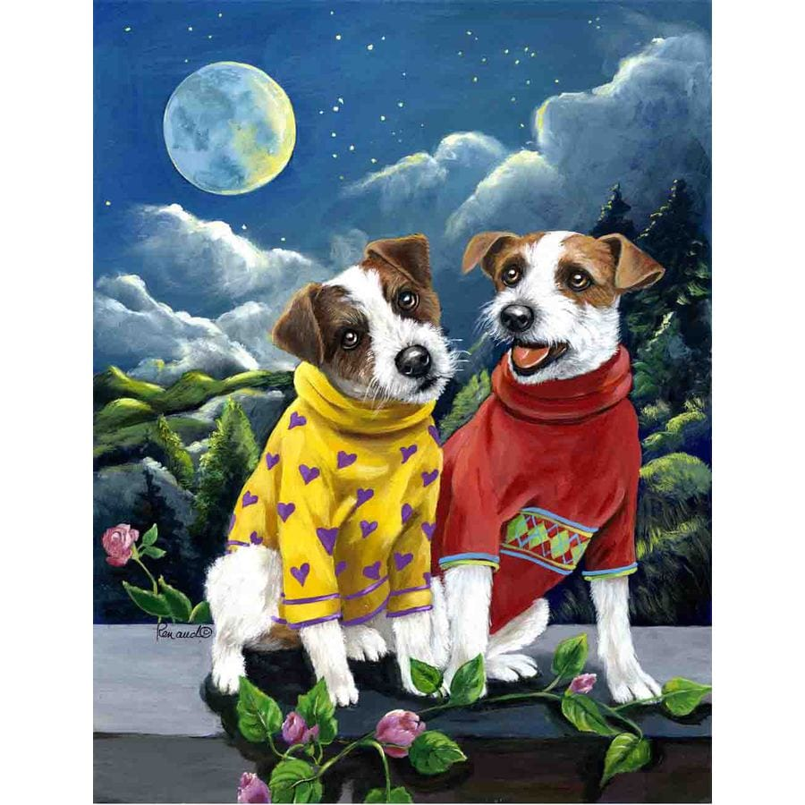 Precious Pet Paintings 1.5-ft x 1.04-ft Jack Russell Spring Flag
