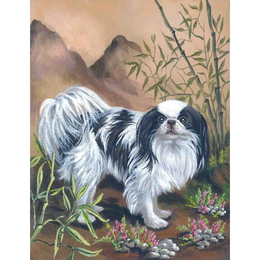 Precious Pet Paintings 1.5-ft x 1.04-ft Japanese Chin Spring Flag