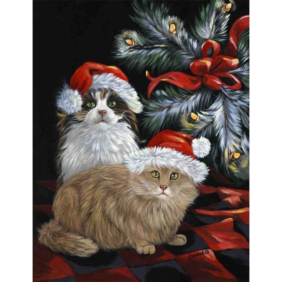 Precious Pet Paintings 1.5-ft x 1.04-ft Cat Christmas Flag