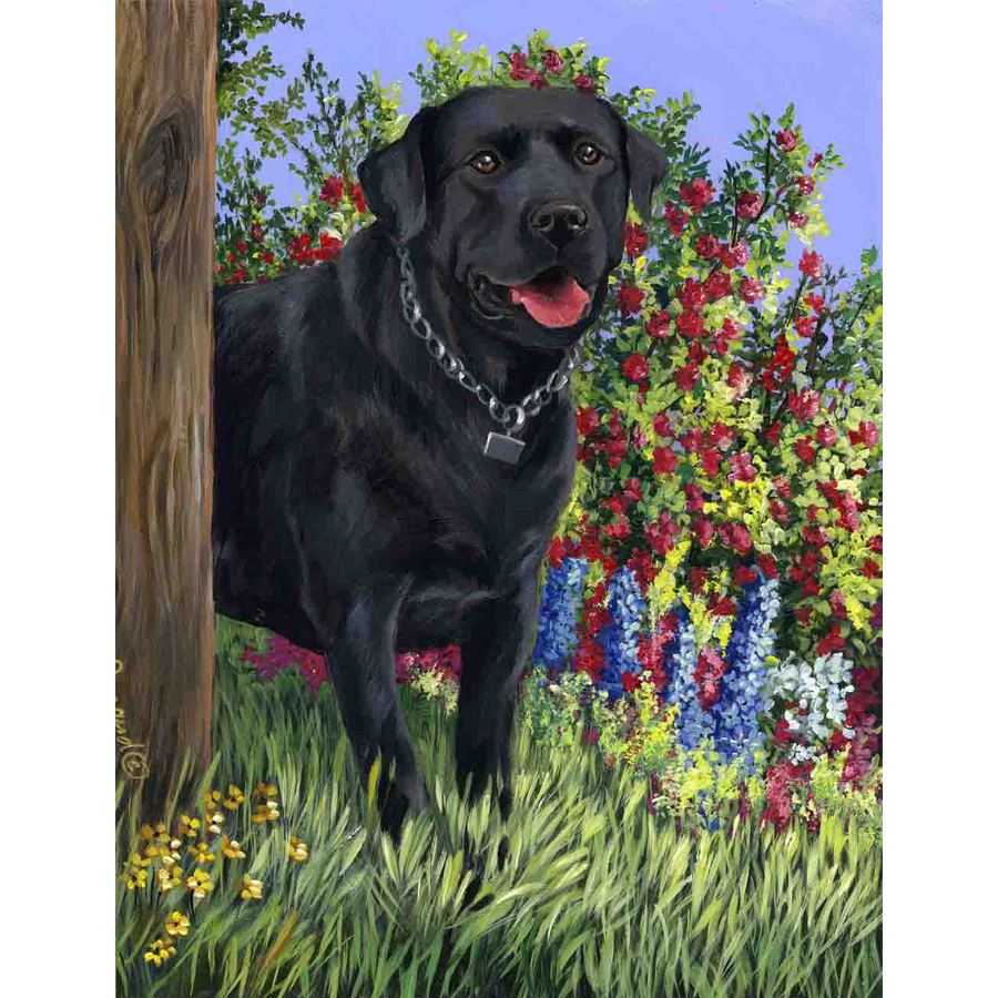 Precious Pet Paintings 1.5-ft x 1.04-ft Labrador Retriever Spring Flag