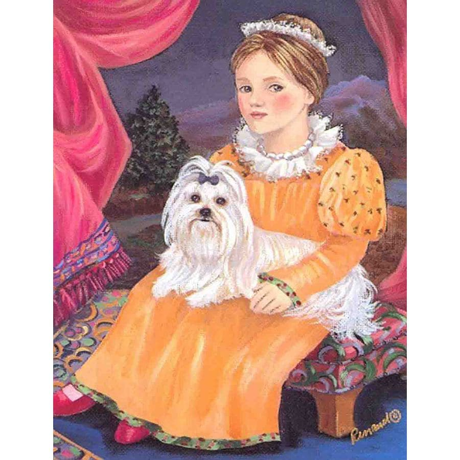 Precious Pet Paintings 1.5-ft x 1.04-ft Maltese  Flag