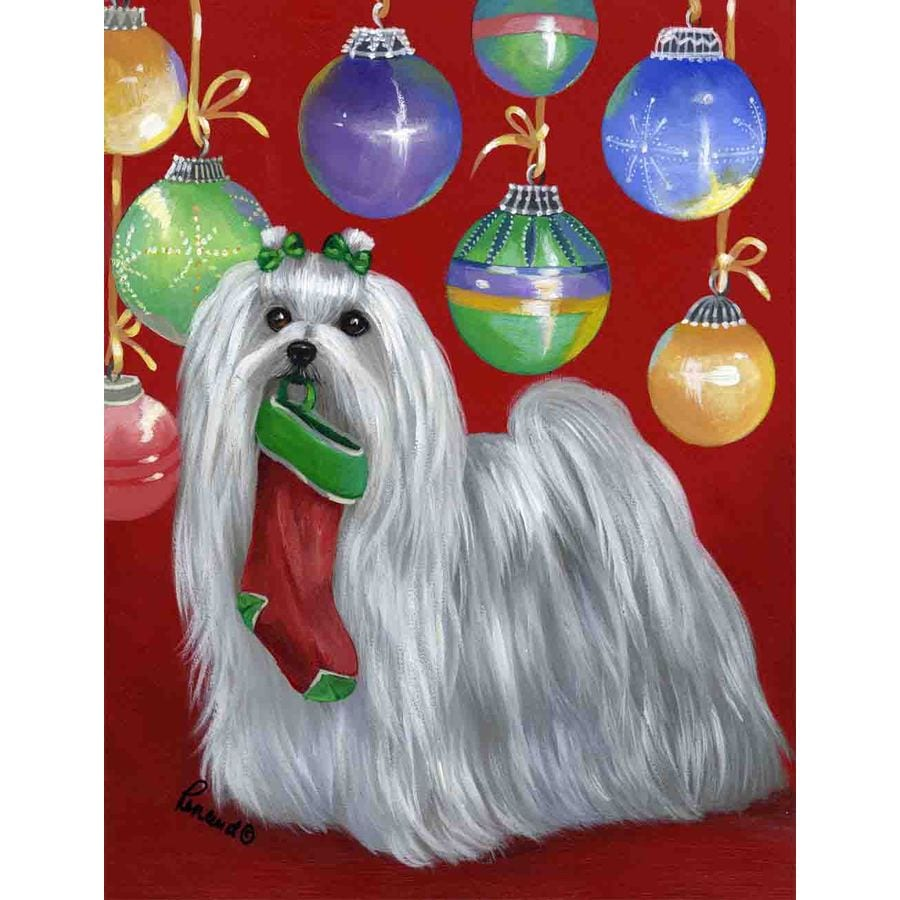 Precious Pet Paintings 1.5-ft x 1.04-ft Maltese Christmas Flag