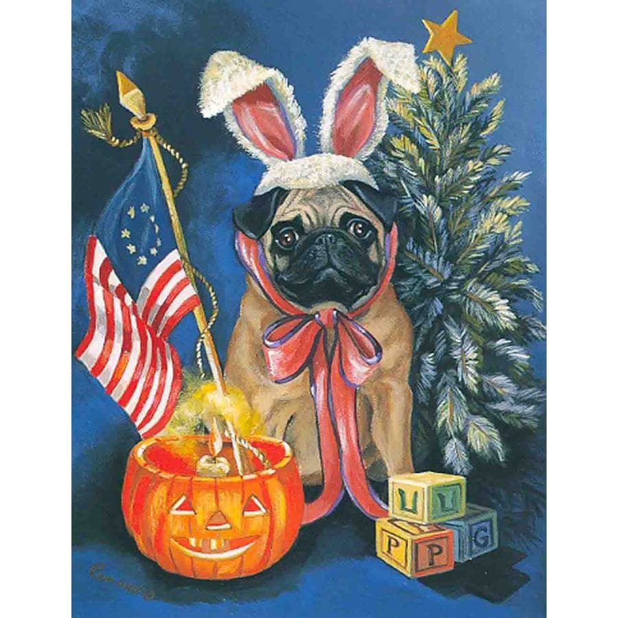 Precious Pet Paintings 1.5-ft x 1.04-ft Pug Celebration Flag