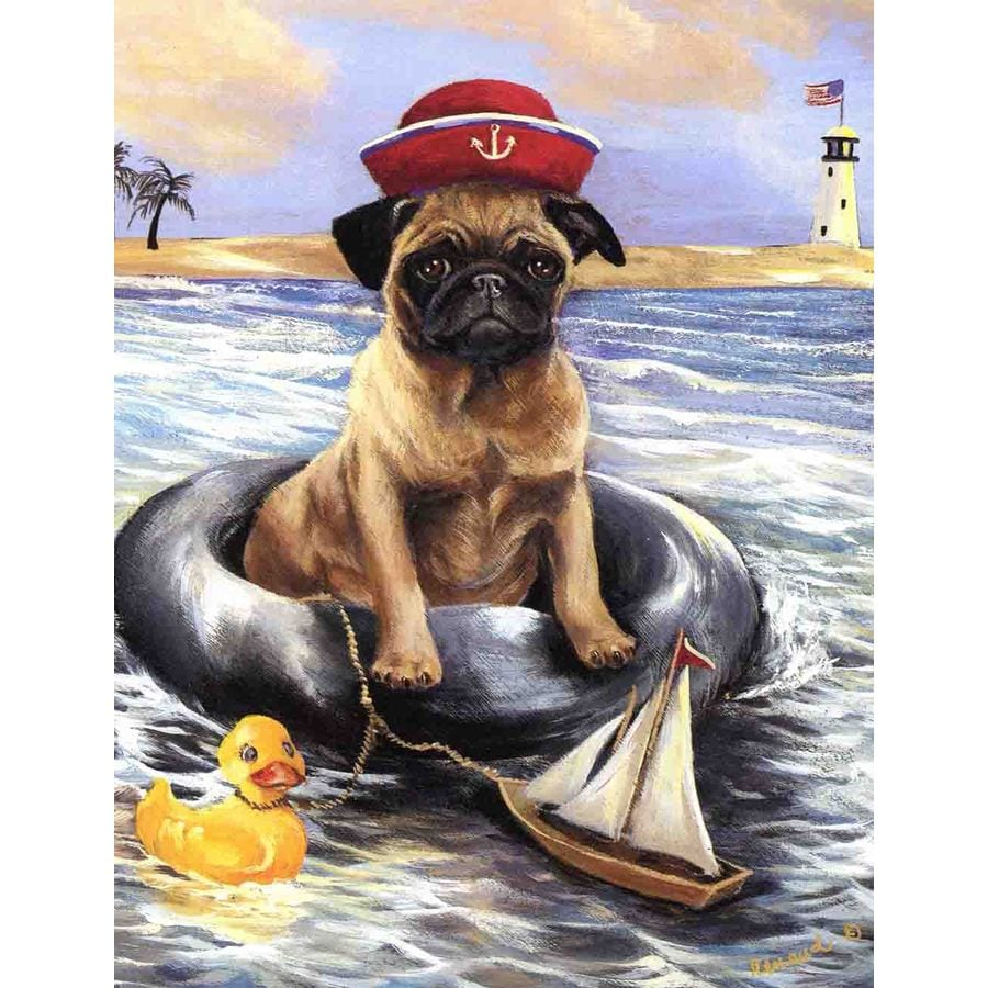 Precious Pet Paintings 1.5-ft x 1.04-ft Pug Beach Flag