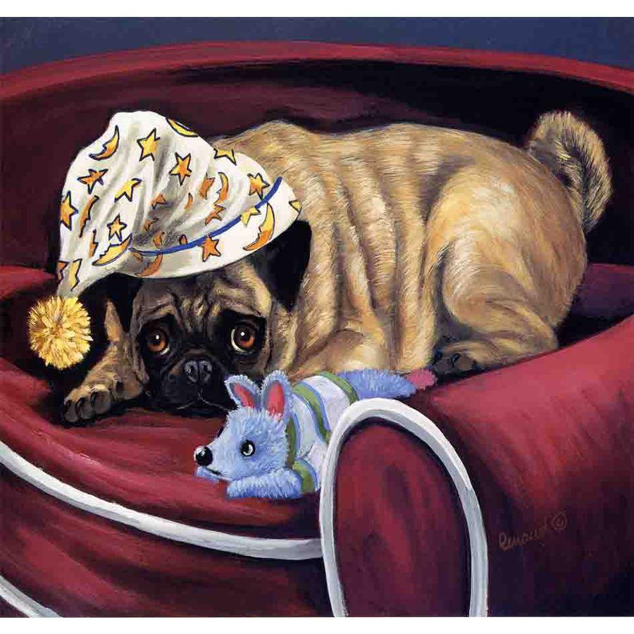 Precious Pet Paintings 1.5-ft x 1.04-ft Pug  Flag