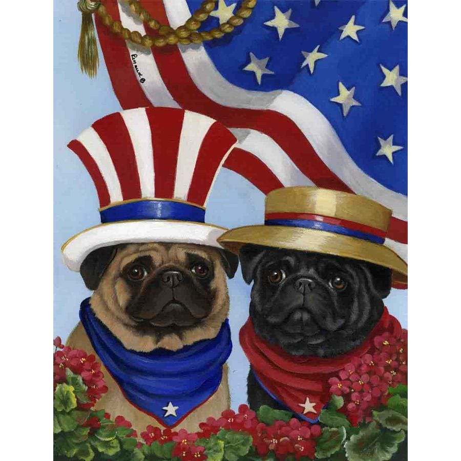 Precious Pet Paintings 1.5-ft x 1.04-ft Pug 4th of July Flag