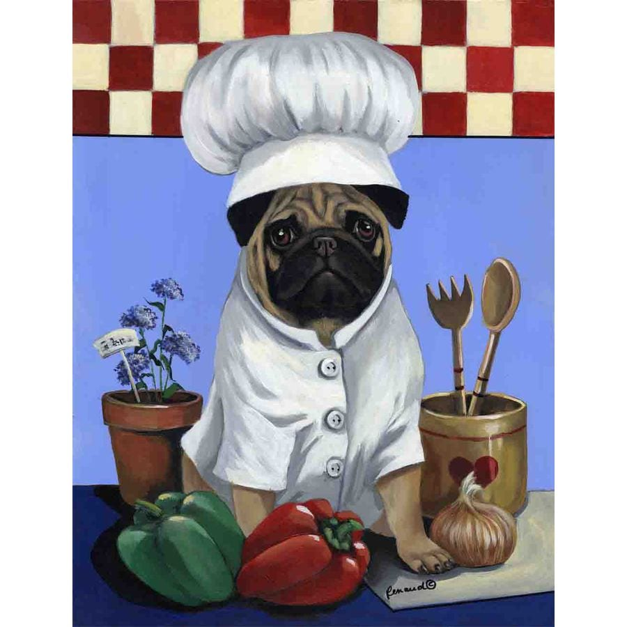 Precious Pet Paintings 1.5-ft x 1.04-ft Pug  Flag