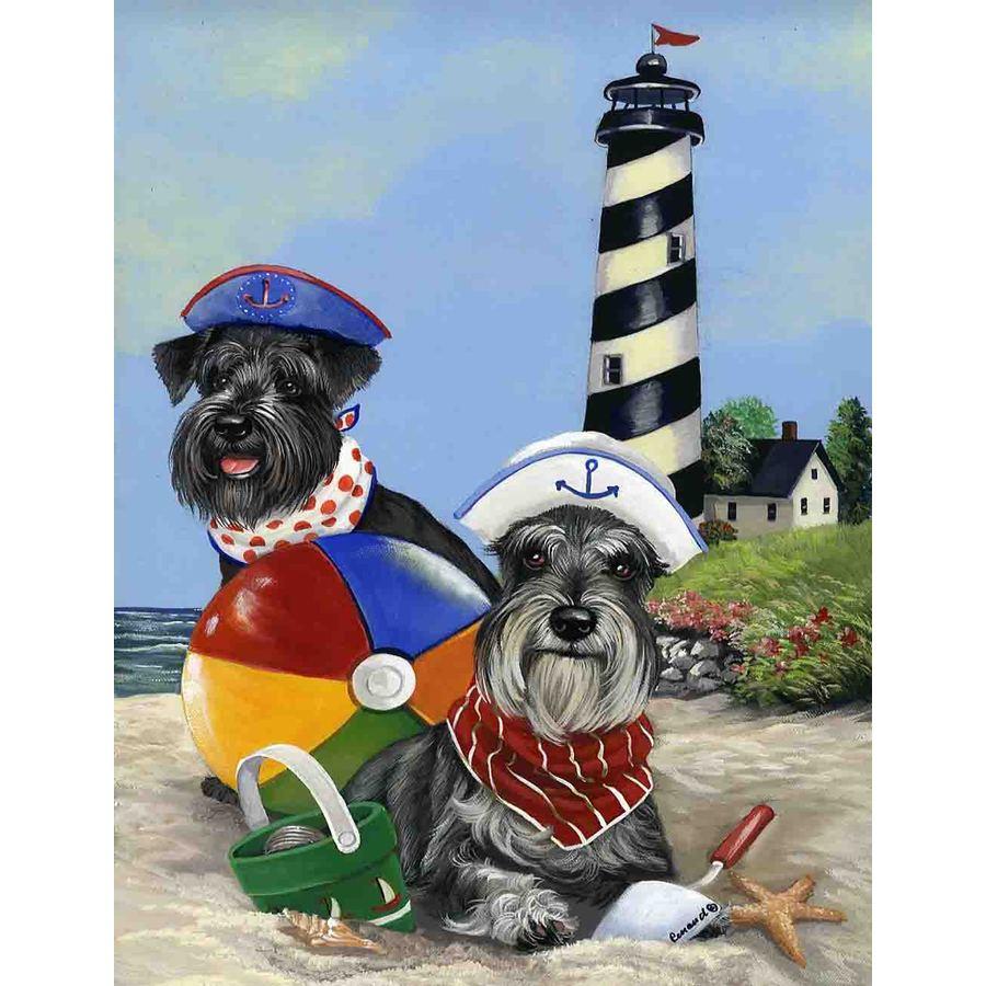 Precious Pet Paintings 1.5-ft x 1.04-ft Schnauzer Beach Flag