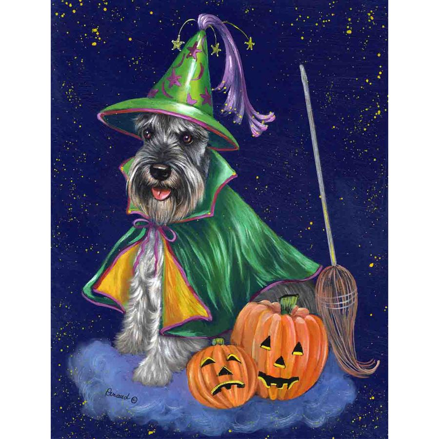 Precious Pet Paintings 1.5-ft x 1.04-ft Schnauzer Halloween Flag