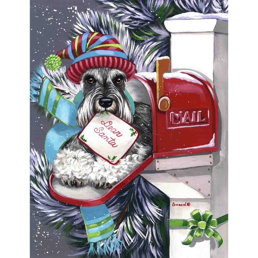 Precious Pet Paintings 1.5-ft x 1.04-ft Schnauzer Christmas Flag