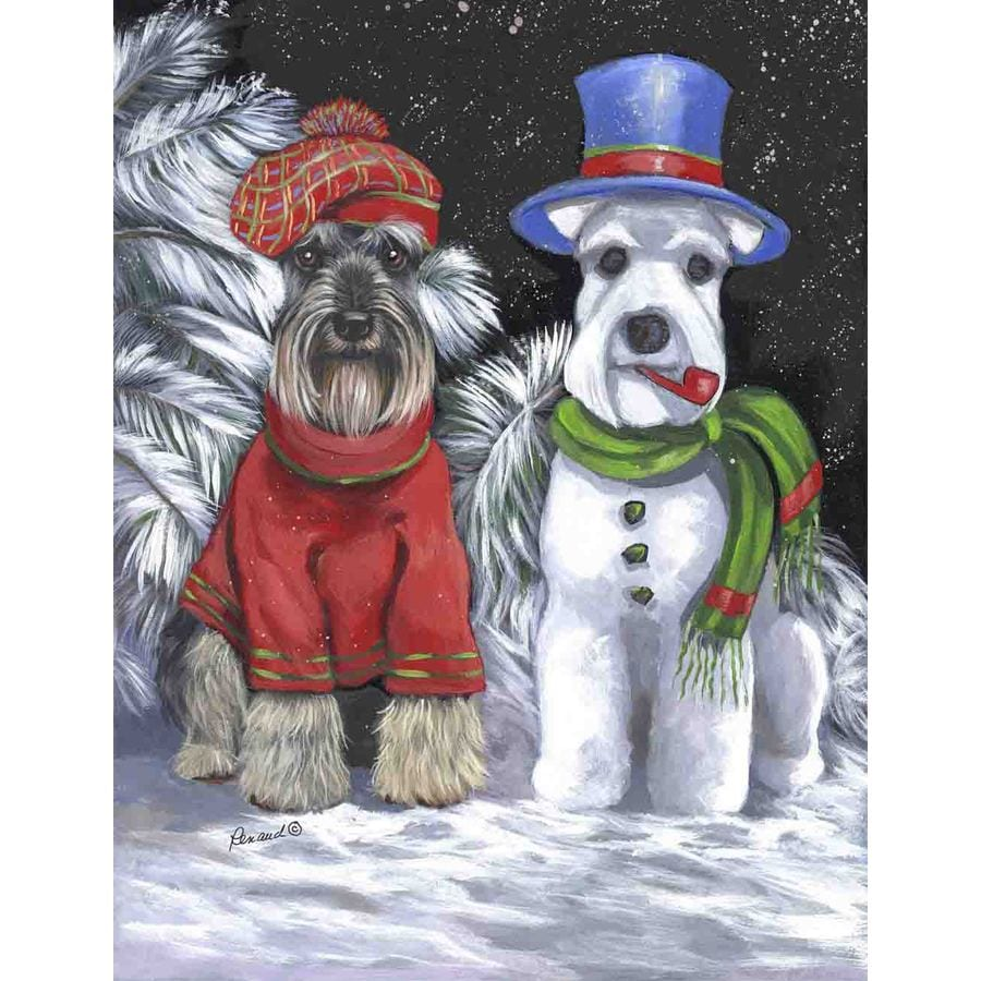 Precious Pet Paintings 1.5-ft x 1.04-ft Schnauzer Winter Flag
