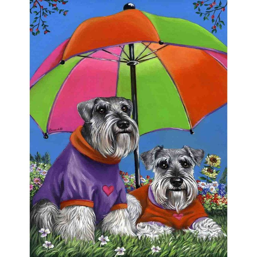 Precious Pet Paintings 1.5-ft x 1.04-ft Schnauzer Spring Flag