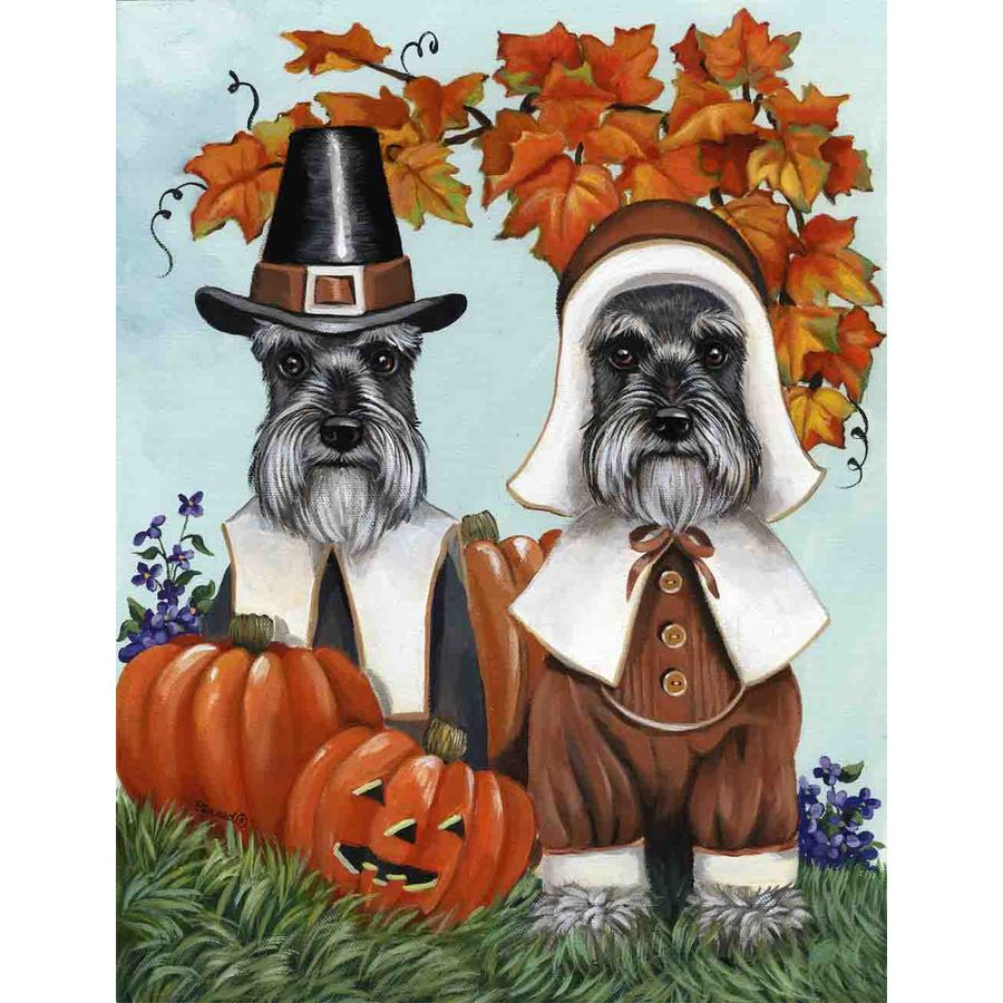 Precious Pet Paintings 1.5-ft x 1.04-ft Schnauzer Thanksgiving Flag