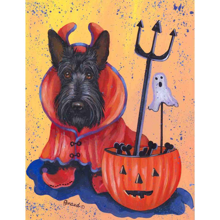 Precious Pet Paintings 1.5-ft x 1.04-ft Scottish Terrier Halloween Flag