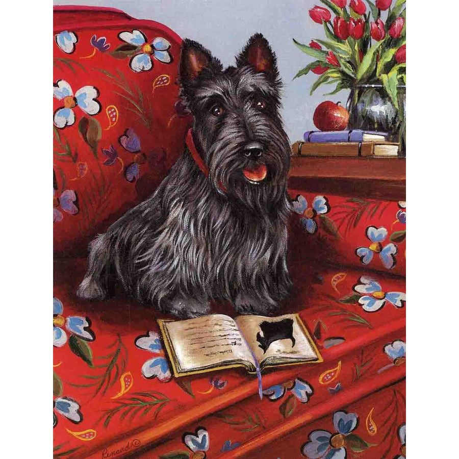Precious Pet Paintings 1.5-ft x 1.04-ft Scottish Terrier Spring Flag