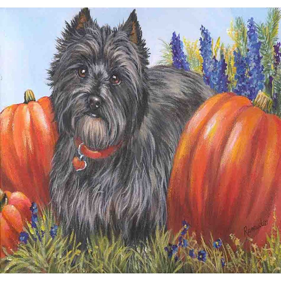 Precious Pet Paintings 1.5-ft x 1.04-ft Cairn Terrier Fall Flag
