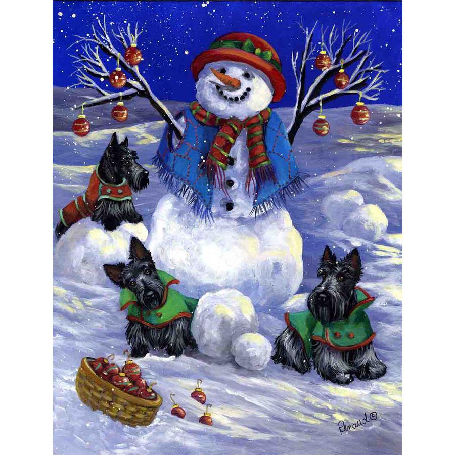 Precious Pet Paintings 1.5-ft x 1.04-ft Scottish Terrier Winter Flag
