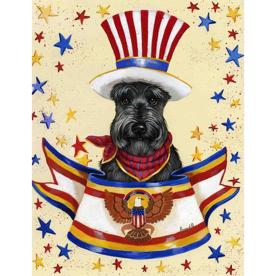 Precious Pet Paintings 1.5-ft x 1.04-ft Scottish Terrier 4th of July Flag