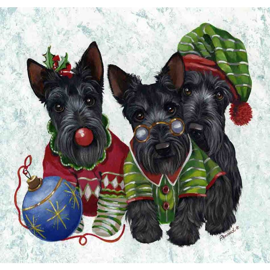 Precious Pet Paintings 1.5-ft x 1.04-ft Scottish Terrier Christmas Flag