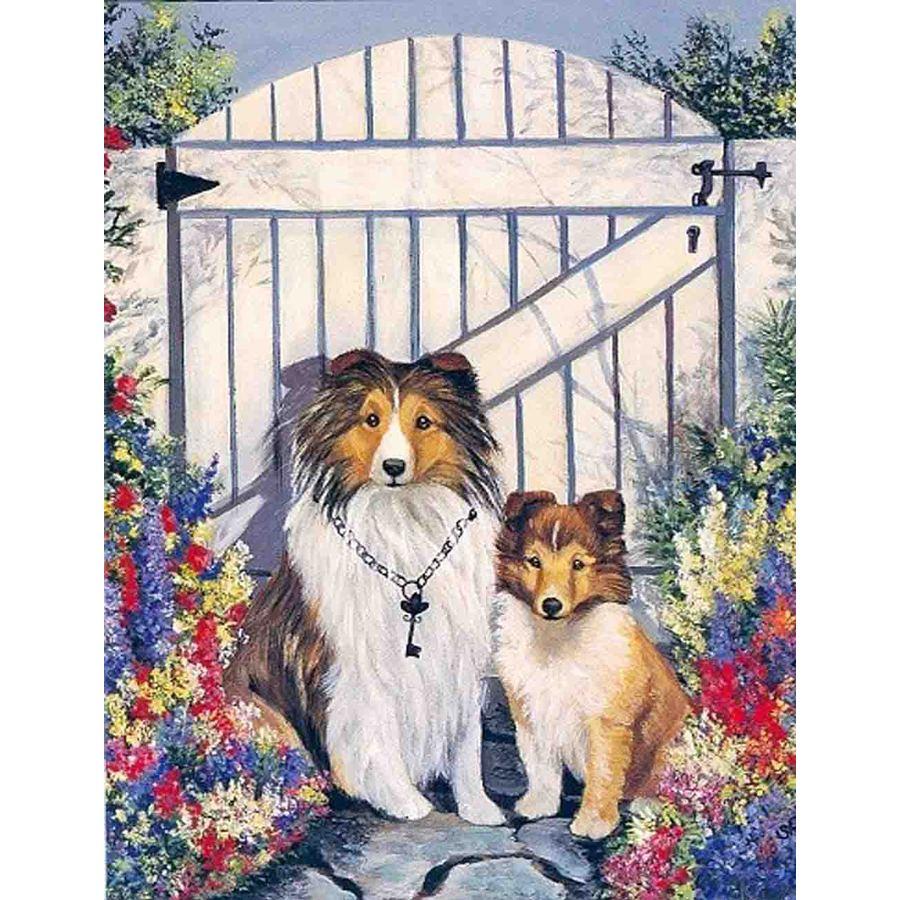 Precious Pet Paintings 1.5-ft x 1.04-ft Shetland Sheepdog Spring Flag
