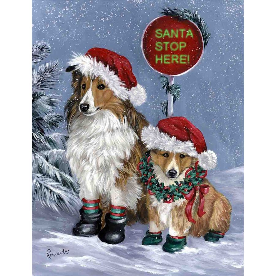 Precious Pet Paintings 1.5-ft x 1.04-ft Shetland Sheepdog Christmas Flag