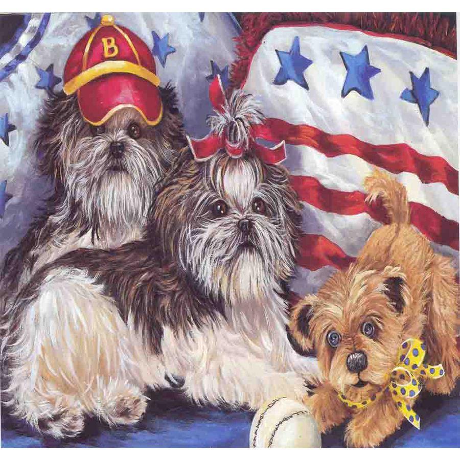 Precious Pet Paintings 1.5-ft x 1.04-ft Shih Tzu  Flag