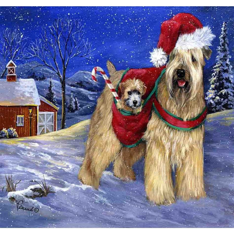 Precious Pet Paintings 1.5-ft x 1.04-ft Soft Coated Wheaten Terrier Christmas Flag