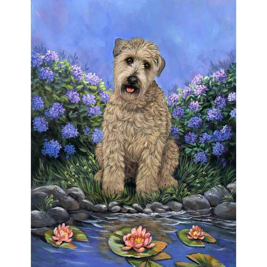 Precious Pet Paintings 1.5-ft x 1.04-ft Soft Coated Wheaten Terrier Spring Flag