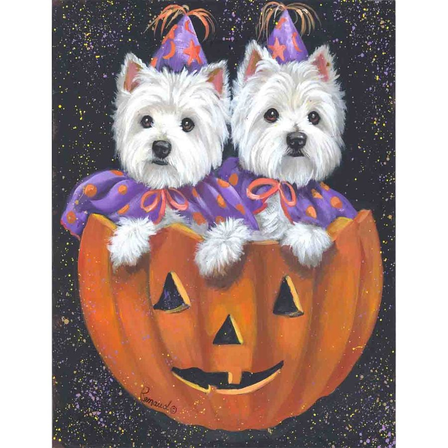 Precious Pet Paintings 1.5-ft x 1.04-ft West Highland Terrier Halloween Flag