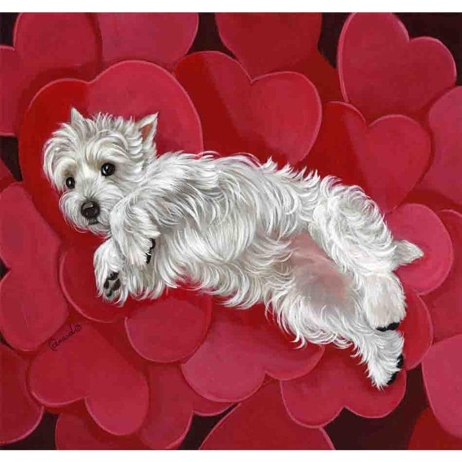 Precious Pet Paintings 1.5-ft x 1.04-ft West Highland Terrier Valentine's Day Flag