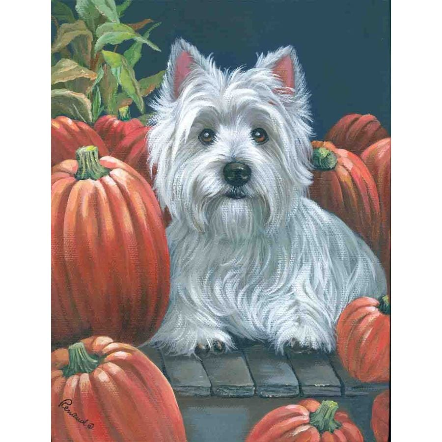 Precious Pet Paintings 1.5-ft x 1.04-ft West Highland Terrier Fall Flag