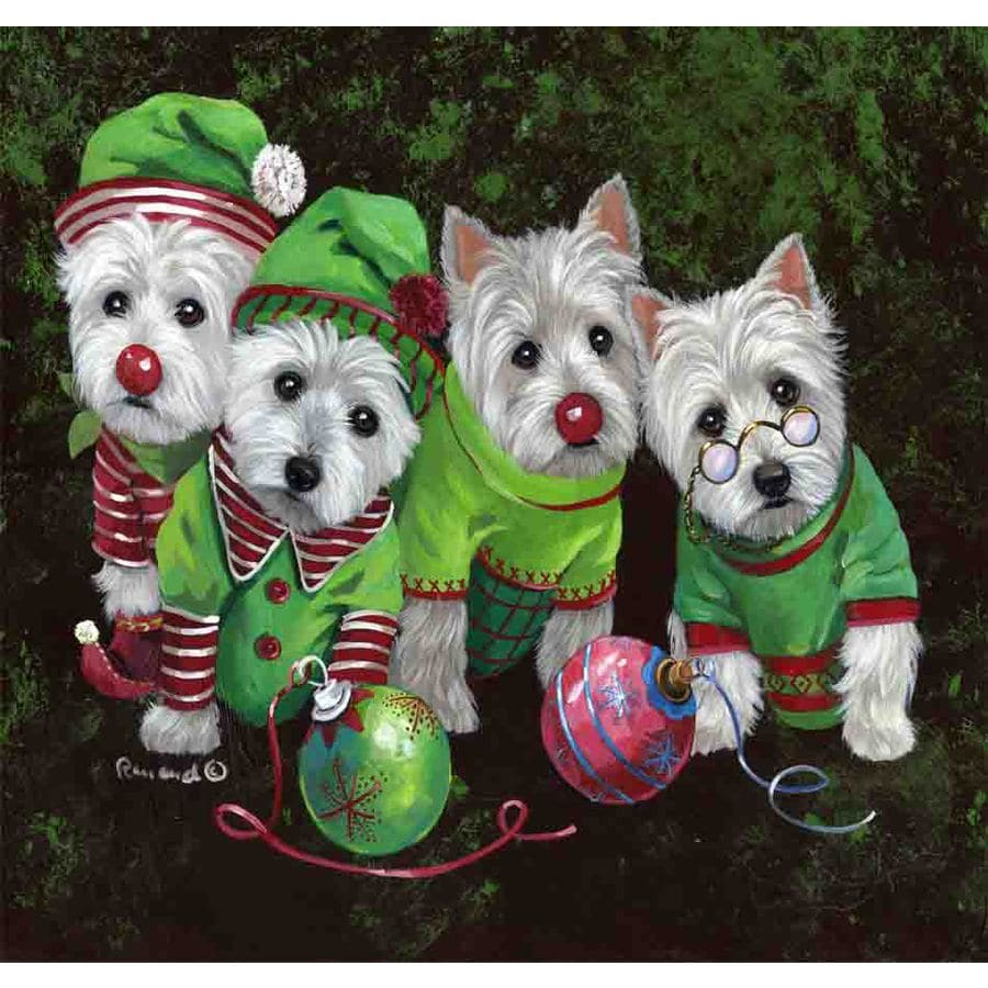 Precious Pet Paintings 1.5-ft x 1.04-ft West Highland Terrier Christmas Flag