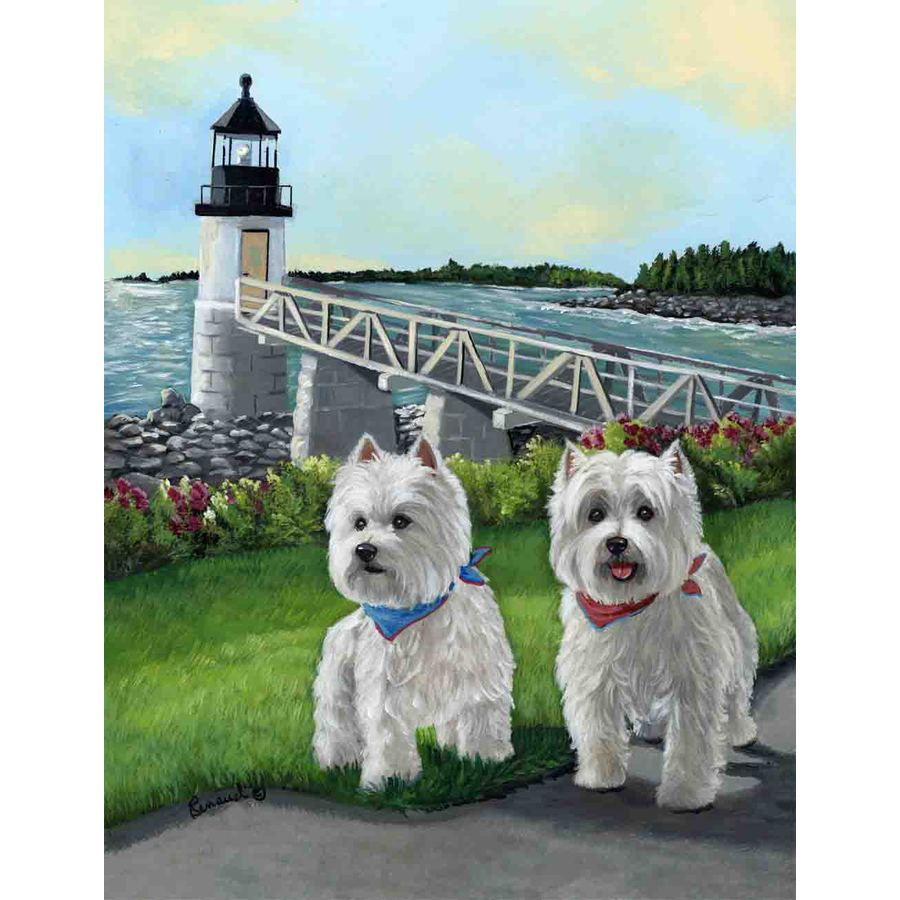 Precious Pet Paintings 1.5-ft x 1.04-ft West Highland Terrier Beach Flag