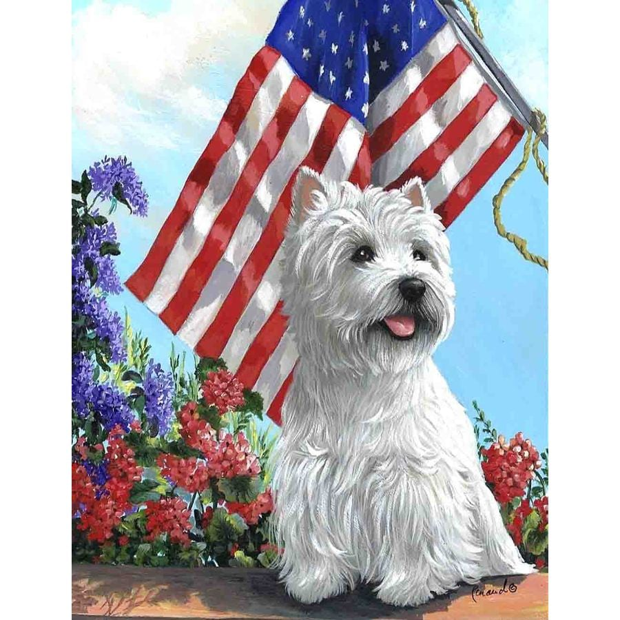 Precious Pet Paintings 1.5-ft x 1.04-ft West Highland Terrier 4th of July Flag