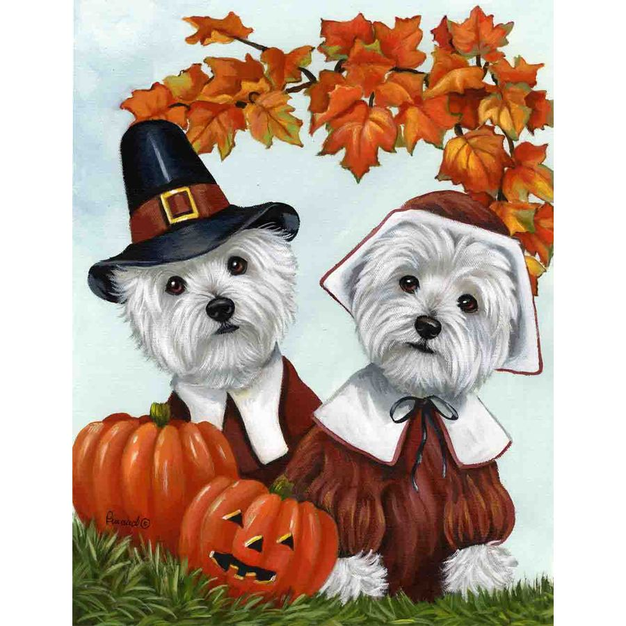 Precious Pet Paintings 1.5-ft x 1.04-ft West Highland Terrier Thanksgiving Flag